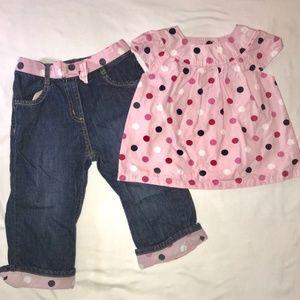 2/$25 Gymboree 18-24 m Jeans & Polka Dot Top EUC